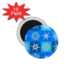 Seamless Blue Snowflake Pattern 1.75  Magnets (10 pack)