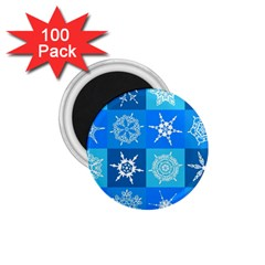Seamless Blue Snowflake Pattern 1.75  Magnets (100 pack)
