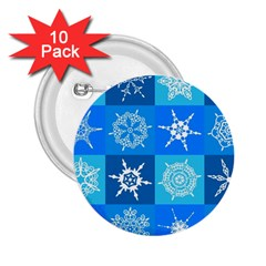 Seamless Blue Snowflake Pattern 2 25  Buttons (10 Pack)