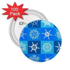 Seamless Blue Snowflake Pattern 2 25  Buttons (100 Pack)