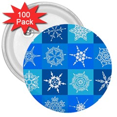 Seamless Blue Snowflake Pattern 3  Buttons (100 Pack)