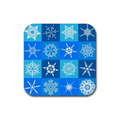 Seamless Blue Snowflake Pattern Rubber Square Coaster (4 pack)