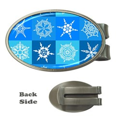 Seamless Blue Snowflake Pattern Money Clips (Oval)