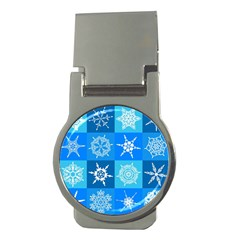 Seamless Blue Snowflake Pattern Money Clips (round)