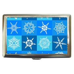 Seamless Blue Snowflake Pattern Cigarette Money Cases