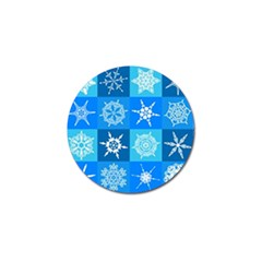 Seamless Blue Snowflake Pattern Golf Ball Marker