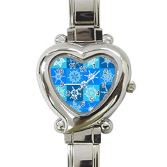 Seamless Blue Snowflake Pattern Heart Italian Charm Watch