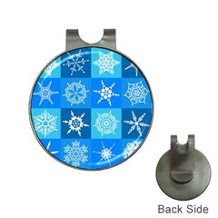 Seamless Blue Snowflake Pattern Hat Clips With Golf Markers