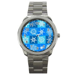 Seamless Blue Snowflake Pattern Sport Metal Watch