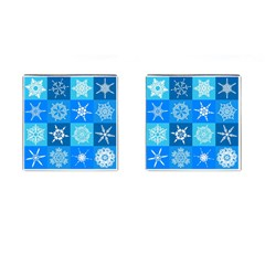 Seamless Blue Snowflake Pattern Cufflinks (Square)