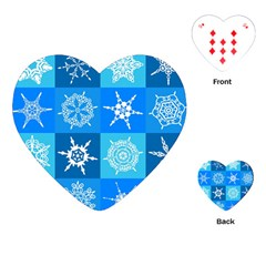 Seamless Blue Snowflake Pattern Playing Cards (Heart)