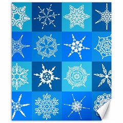 Seamless Blue Snowflake Pattern Canvas 8  x 10
