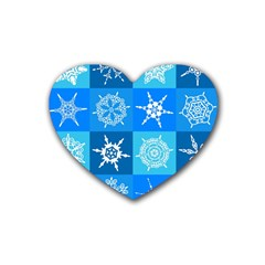Seamless Blue Snowflake Pattern Heart Coaster (4 pack)