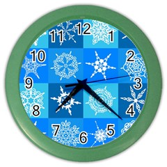Seamless Blue Snowflake Pattern Color Wall Clocks