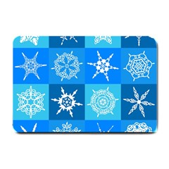 Seamless Blue Snowflake Pattern Small Doormat