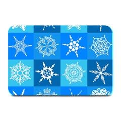 Seamless Blue Snowflake Pattern Plate Mats
