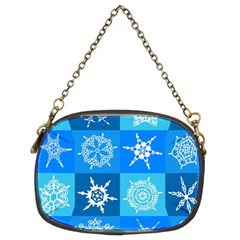Seamless Blue Snowflake Pattern Chain Purses (Two Sides)
