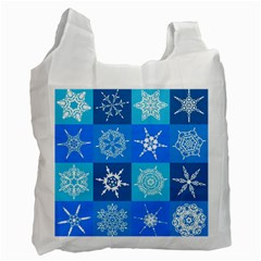 Seamless Blue Snowflake Pattern Recycle Bag (One Side)