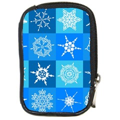 Seamless Blue Snowflake Pattern Compact Camera Cases