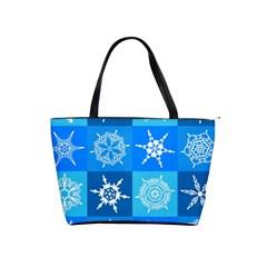 Seamless Blue Snowflake Pattern Shoulder Handbags
