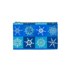 Seamless Blue Snowflake Pattern Cosmetic Bag (Small)