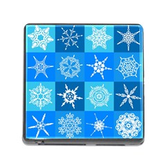 Seamless Blue Snowflake Pattern Memory Card Reader (Square)