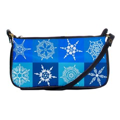 Seamless Blue Snowflake Pattern Shoulder Clutch Bags