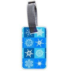 Seamless Blue Snowflake Pattern Luggage Tags (one Side)