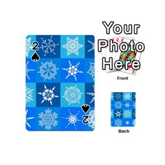 Seamless Blue Snowflake Pattern Playing Cards 54 (Mini)