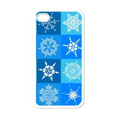 Seamless Blue Snowflake Pattern Apple Iphone 4 Case (white)