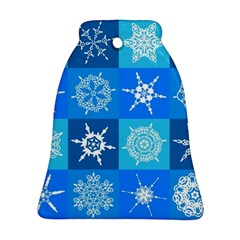 Seamless Blue Snowflake Pattern Bell Ornament (Two Sides)