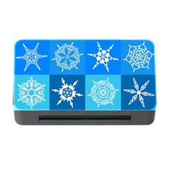 Seamless Blue Snowflake Pattern Memory Card Reader With Cf