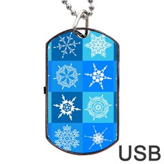 Seamless Blue Snowflake Pattern Dog Tag USB Flash (Two Sides)