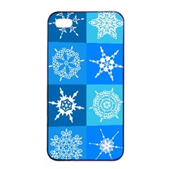 Seamless Blue Snowflake Pattern Apple iPhone 4/4s Seamless Case (Black)