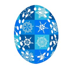 Seamless Blue Snowflake Pattern Ornament (oval Filigree)