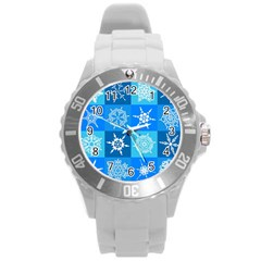 Seamless Blue Snowflake Pattern Round Plastic Sport Watch (L)