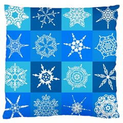 Seamless Blue Snowflake Pattern Large Cushion Case (two Sides)