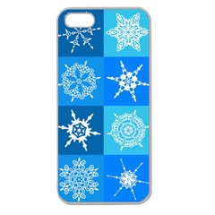 Seamless Blue Snowflake Pattern Apple Seamless Iphone 5 Case (clear)