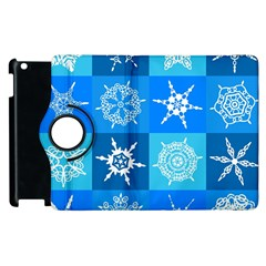 Seamless Blue Snowflake Pattern Apple Ipad 3/4 Flip 360 Case