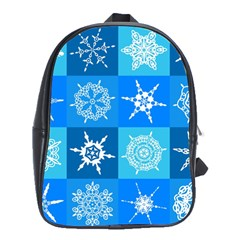 Seamless Blue Snowflake Pattern School Bags (xl)