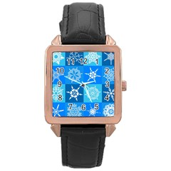 Seamless Blue Snowflake Pattern Rose Gold Leather Watch