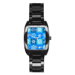 Seamless Blue Snowflake Pattern Stainless Steel Barrel Watch