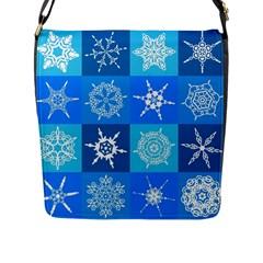 Seamless Blue Snowflake Pattern Flap Messenger Bag (l)