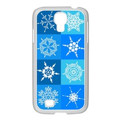 Seamless Blue Snowflake Pattern Samsung Galaxy S4 I9500/ I9505 Case (white)