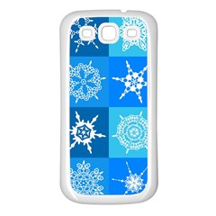 Seamless Blue Snowflake Pattern Samsung Galaxy S3 Back Case (white)