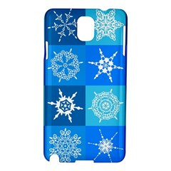 Seamless Blue Snowflake Pattern Samsung Galaxy Note 3 N9005 Hardshell Case