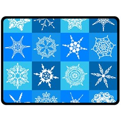 Seamless Blue Snowflake Pattern Double Sided Fleece Blanket (large)
