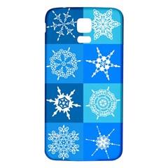 Seamless Blue Snowflake Pattern Samsung Galaxy S5 Back Case (white)