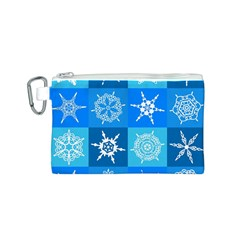 Seamless Blue Snowflake Pattern Canvas Cosmetic Bag (s)