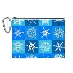 Seamless Blue Snowflake Pattern Canvas Cosmetic Bag (l)
